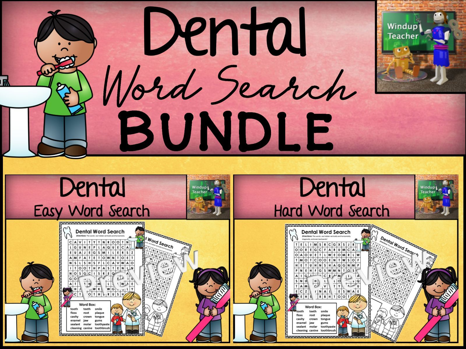 Dental  Word Search Bundle - Easy and Hard Puzzles