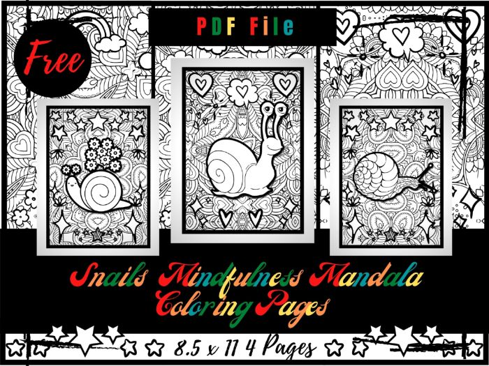 FREE Snails Mindfulness Mandala Colouring Pages For Kids, FREE Printable Sheets