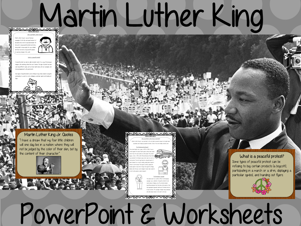 Martin Luther King PowerPoint and Worksheets Lesson