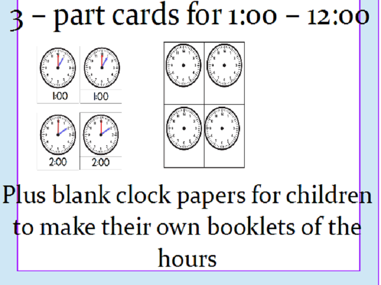 Telling Time Cards - On the Hour