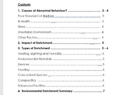 Animal Care, Animal Behaviour, Assignment 5B - Abnormal animal behaviour and enrichment types