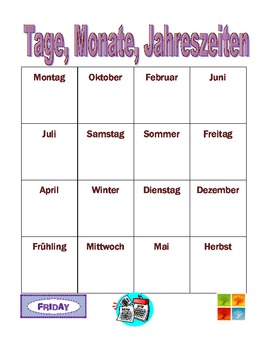 Tage, Monate, Jahreszeiten (Days, Months, Seasons in German) Bingo