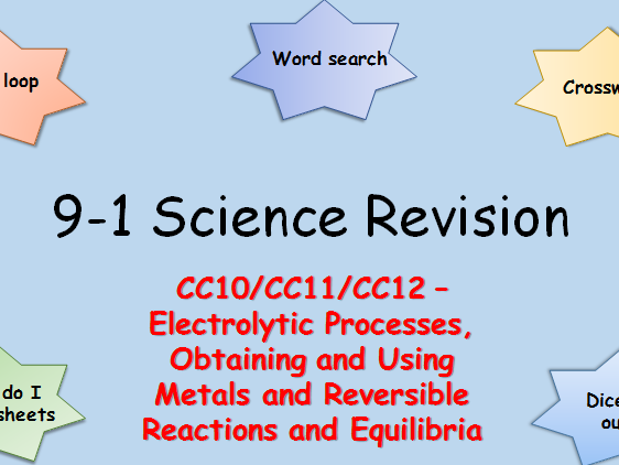 Edexcel C10,11,12 Electrolysis Processes, Obtaining + Using Metals Reversible reactions Revision 9-1