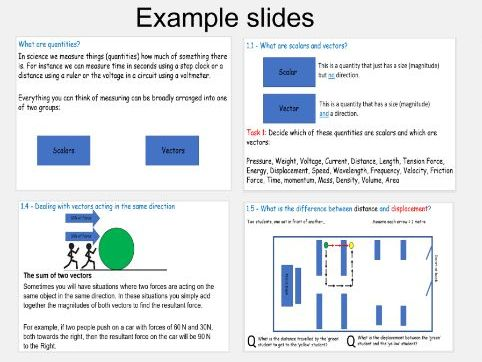 Scalars and vectors lesson / revision slides and matching workbook
