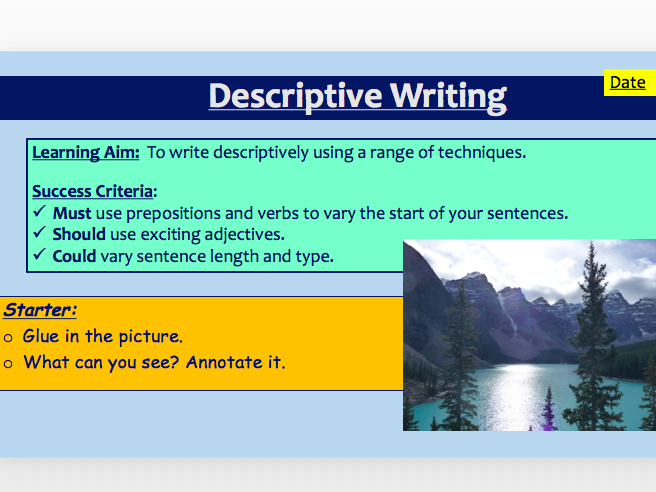 AQA Language Paper 1, Section B - Descriptive Writing
