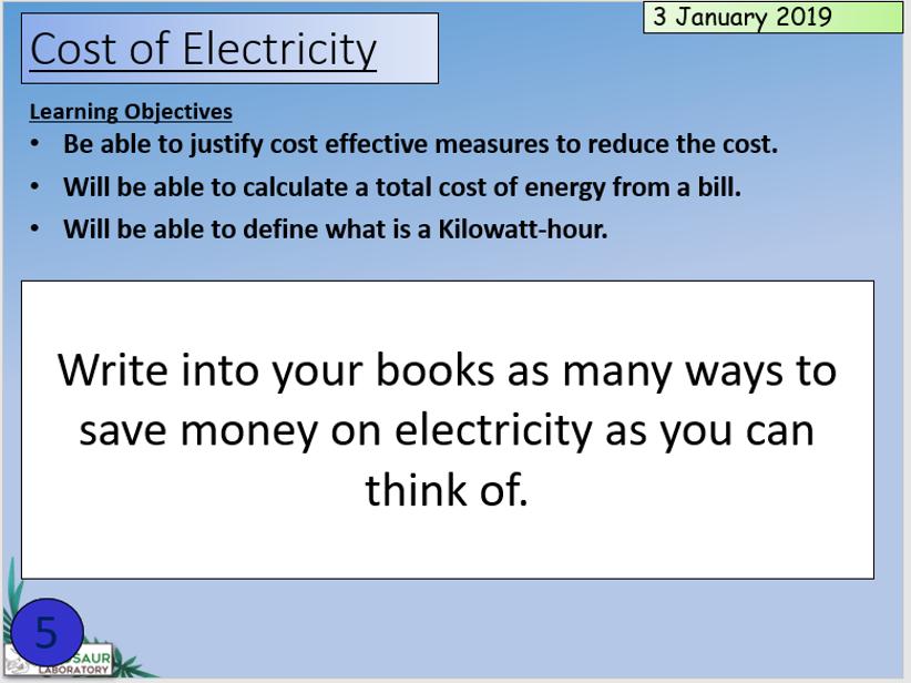 KS3 The cost of energy and Kilowatt Hours kWh
