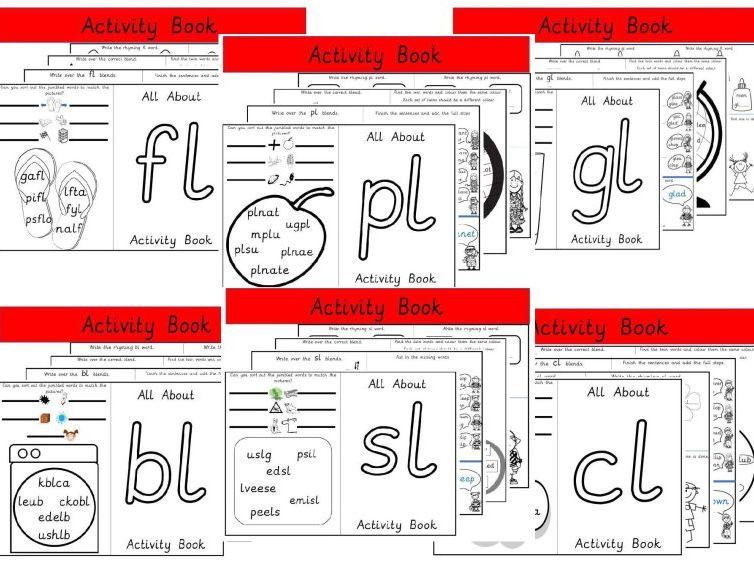 6 Activity Books fo Consonant Blends - bl cl fl gl pl sl