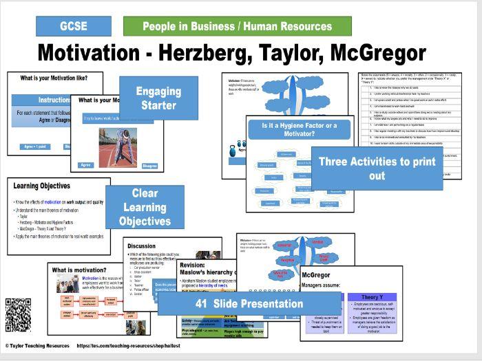 Motivation - Herzberg, Taylor, McGregor - People in Business - GCSE Business Studies Full Lesson