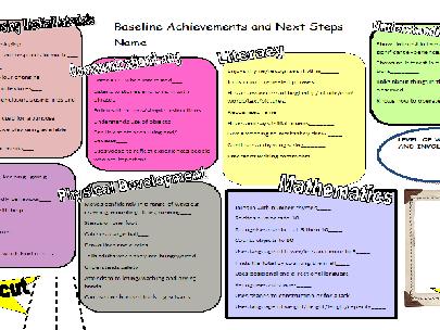 Baseline Assessment sheet for Reception