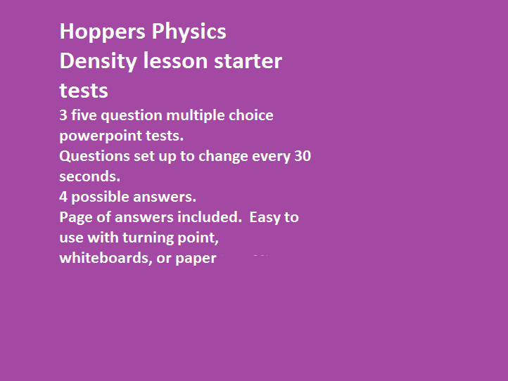 Density lesson starters Hoppers Physics