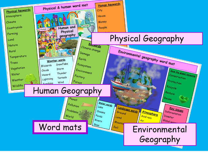 WORD MATS Physical, human and environmental literacy . Vibrant colourful resource. ks1 ks2 ks3