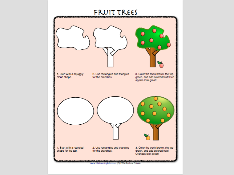 How to Draw with Basic Shapes Book - Plants and Trees
