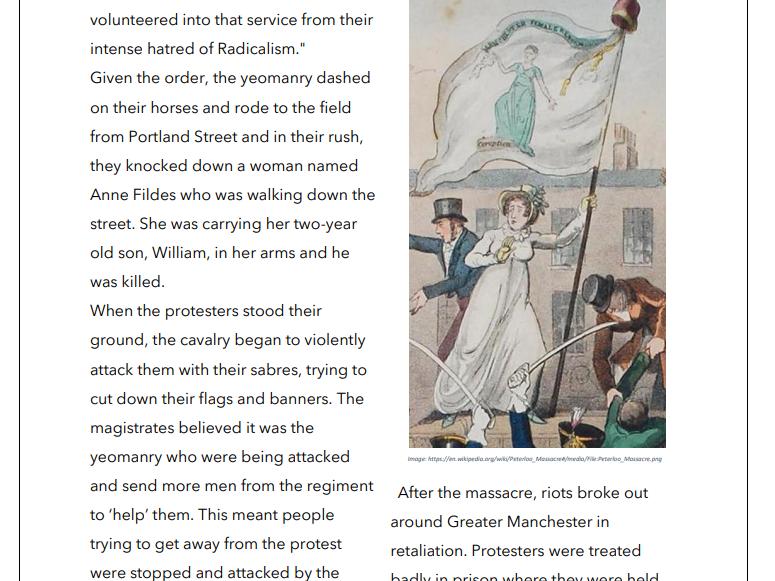 The Peterloo Massacre - Handout