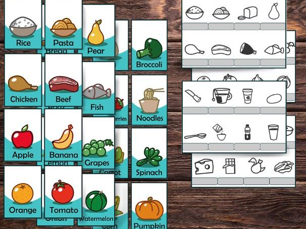 Food printable flashcards and printable coloring pages