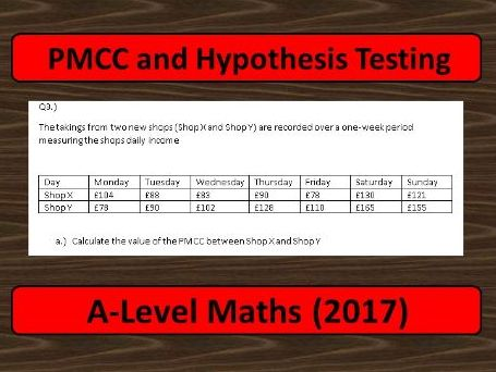 A-Level Maths (2017) Statistics: PMCC and Hypothesis Testing