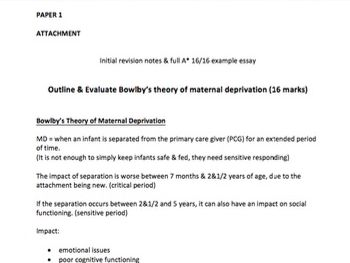 Bowlby's Maternal Deprivation Theory - Full Essay & Notes - A Level Psychology - AQA Paper 1
