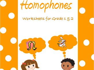 Homophones- Worksheets for Grade 1, 2 & 3
