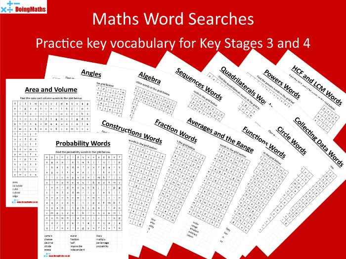 Maths Word Searches