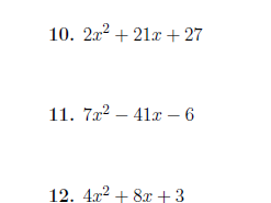 Quadratic factorisation (coefficient greater than 1) worksheet with solutions