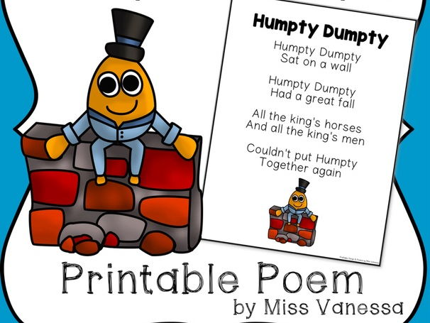 graphic regarding Humpty Dumpty Printable identify Cost-free Humpty Dumpty Printable Poem for Poetry Publications