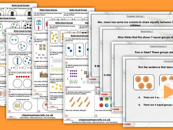 Year 2 Make Equal Groups Autumn Block 4 Step 2 Maths Lesson Pack