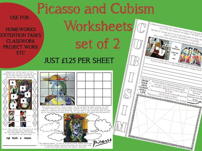 Picasso and Cubisim - set of 2 worksheets