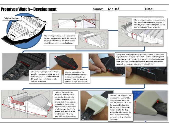 Product Design/ Resistant Materials Development (worksheet and example)