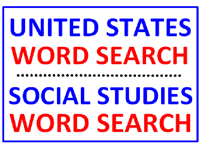 United States Word Search Puzzle PLUS Social Studies Word Search (2 Puzzles)