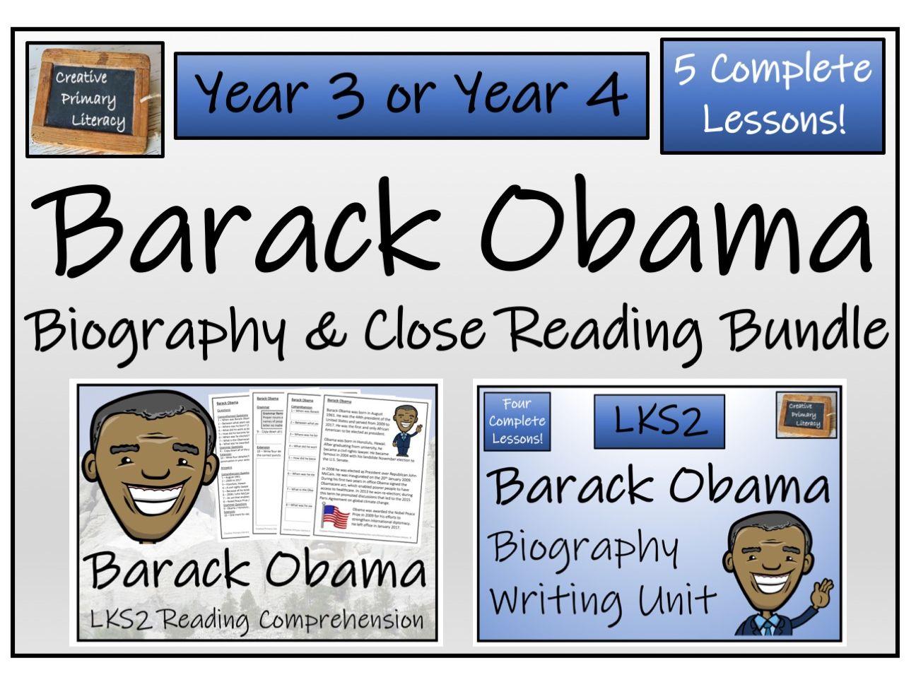 LKS2 - Barack Obama Reading Comprehension & Biography Bundle