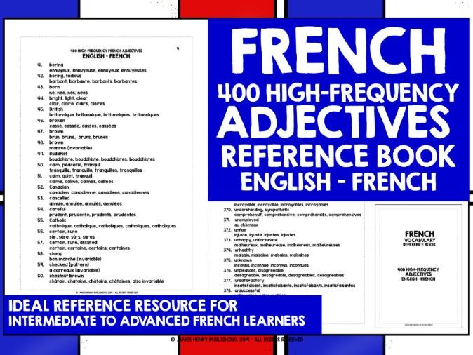 FRENCH ADJECTIVES REFERENCE BOOK 3