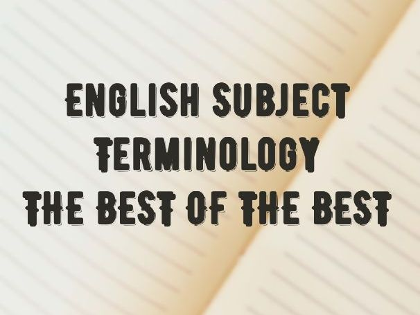 English Language Features / Terminology: THE BEST OF THE BEST