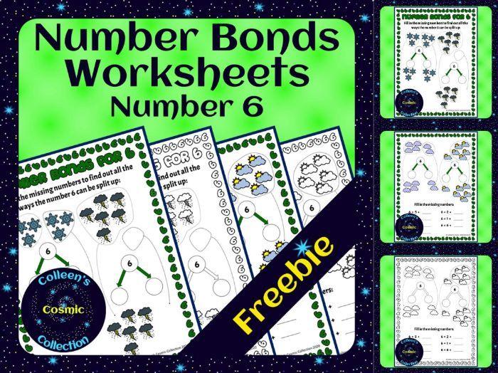 FREEBIE Number Bonds Worksheets for number 6