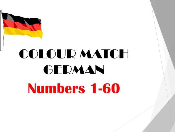 Numbers 1-60  COLOUR MATCH (German)