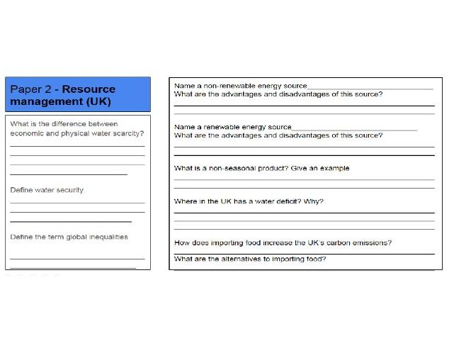 GCSE Geography AQA revision booklet - Paper 2 & 3