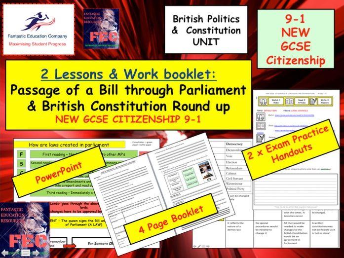 Passage of a bill through parliament x2 lessons GCSE Citizenship 9-1