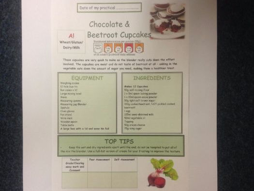 Chocolate & Beetroot Cupcakes FULL Recipe Sheet