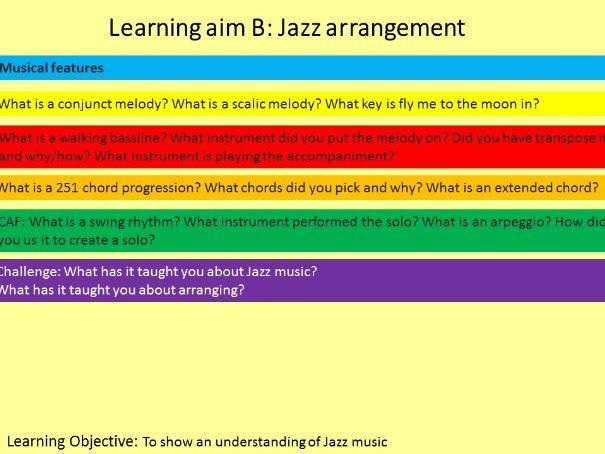 BTEC TECH Award Music Comp1 Learning Aim B - Jazz, Recording, Reggae, Composition, 60's performance