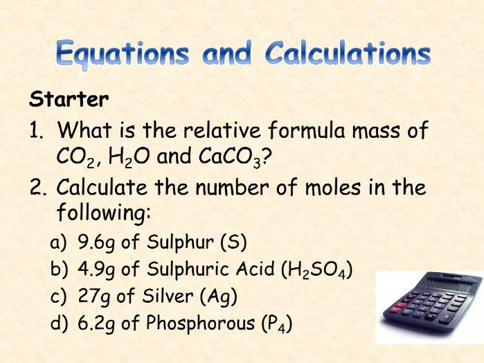 AQA Chemistry Topic 4 : Equations and Calculations