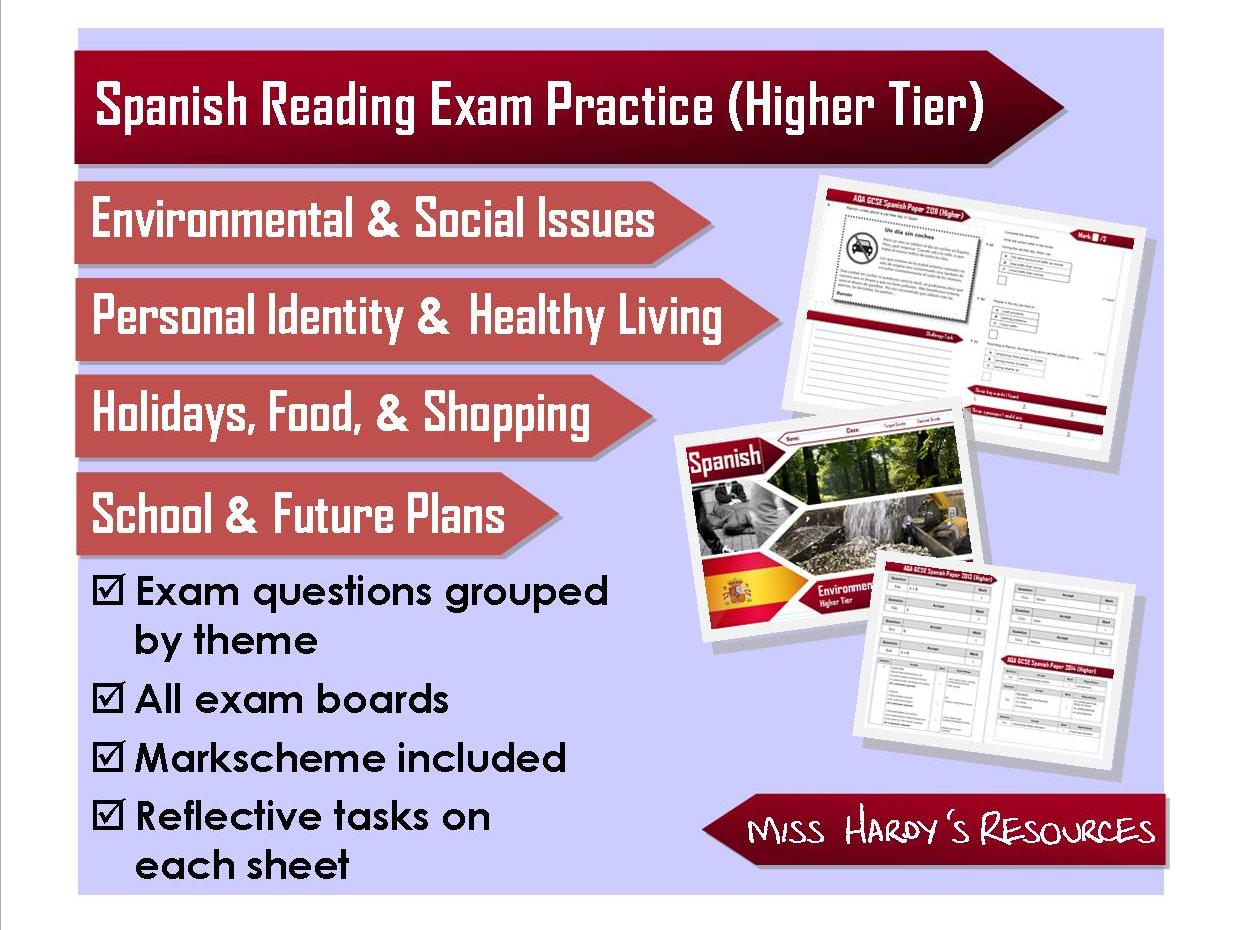 GCSE Spanish - Reading Exam Question Packs - AQA/OCR/Edexcel/iGCSE - Revision/Homework/Assessment - Includes markscheme