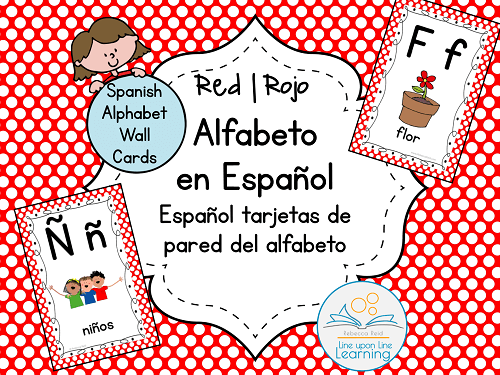 Spanish Alphabet Wall Cards RED option