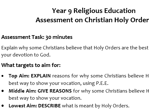 Yr. 9 RE Christian Holy Orders Assessment