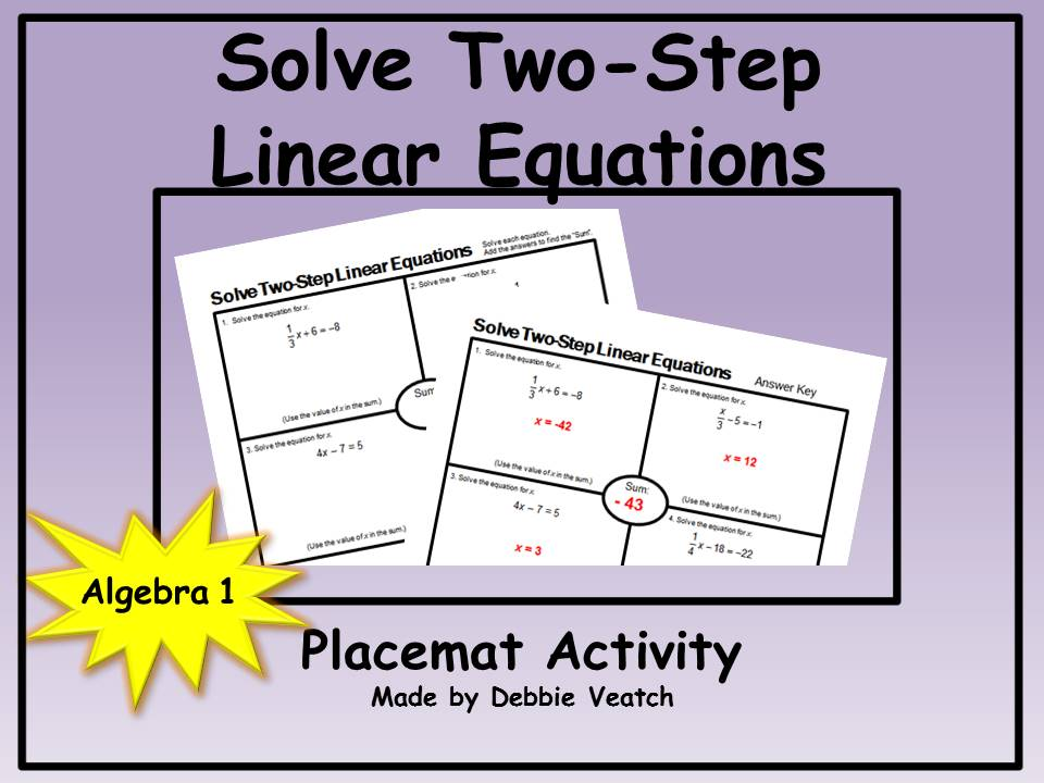 Solve Linear Equations Two-Step Placemat Activity (FREE)
