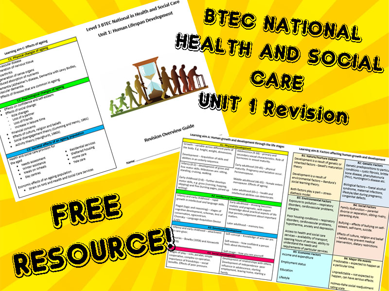 BTEC National Health and Social Care - Unit 1 (Human Lifespan Development) Revision Overview Booklet