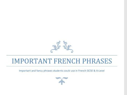 Phrases for French A-Level