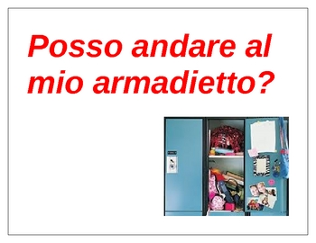 Classroom phrases in Italian Posters