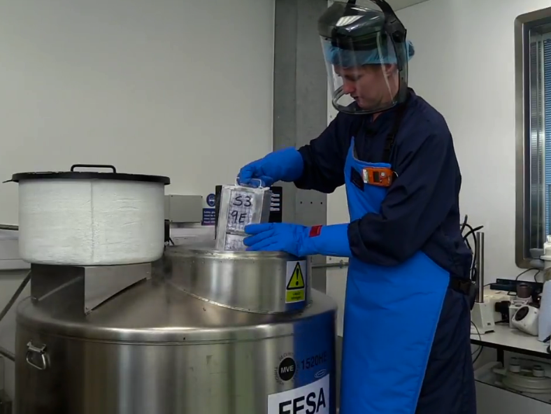 Cryogenic storage at MRC Harwell explained by a technician