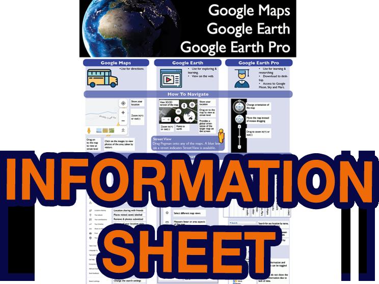 Google Maps, Google Earth Info Sheet
