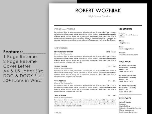 Simple teacher resume template with cover letter and reference page