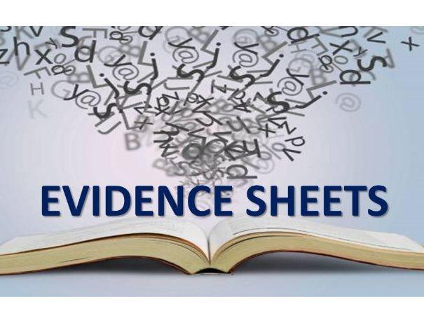 Evidence Sheets for Teacher Graded AQA GCSE English Language 2021 Editable