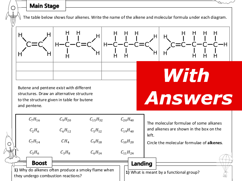 Alkenes Home Learning Worksheet GCSE